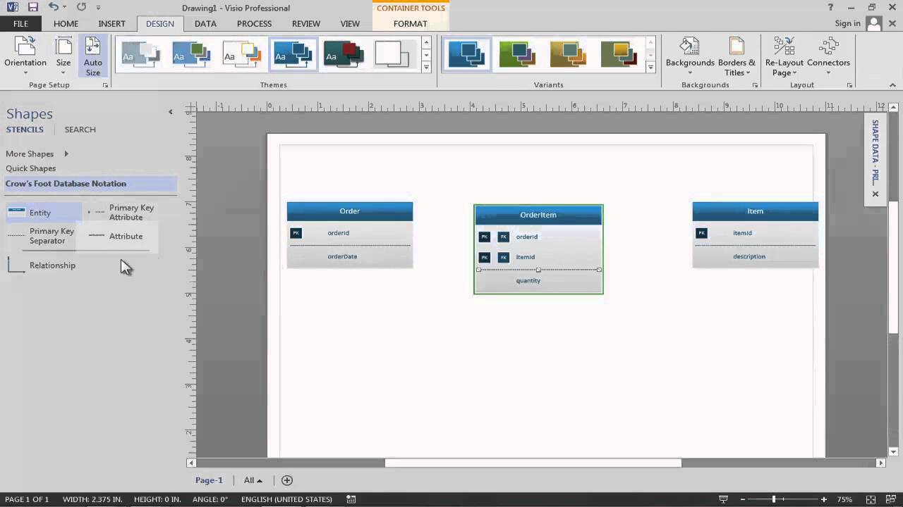 Data Modeling In Visio 2013 - Youtube for Er Diagram Example Youtube