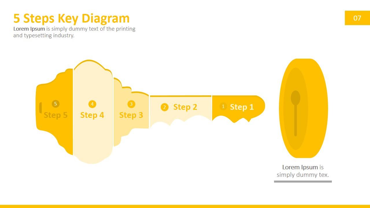 5 Steps Key Powerpoint Diagram - Slidemodel for Key Diagram