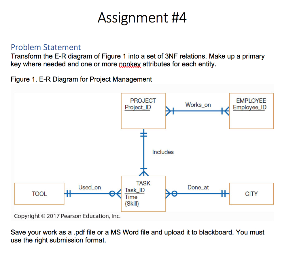 Assignment #4 Problem Statement Transform The E-R throughout Er Diagram To 3Nf