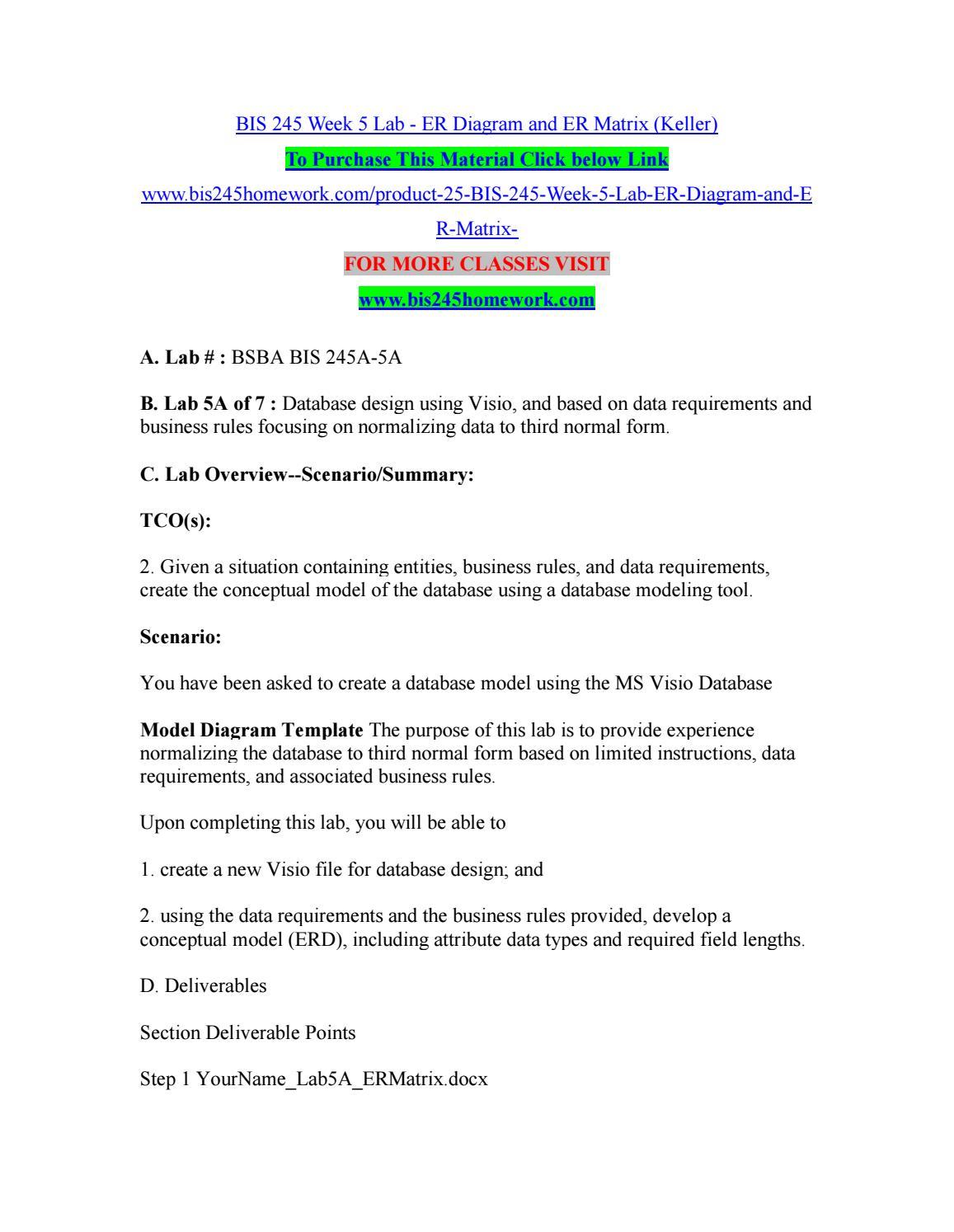 Bis 245 Week 5 Lab - Er Diagram And Er Matrix (Keller).pdf intended for Er Diagram Pdf