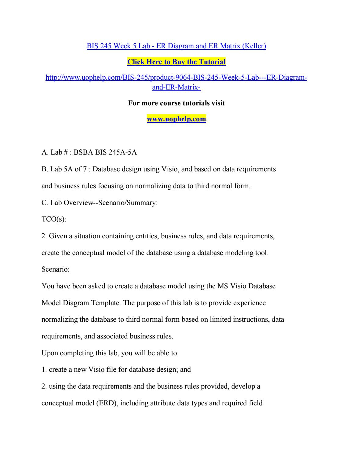 Bis 245 Week 5 Lab Er Diagram And Er Matrixreddy12 - Issuu pertaining to Er Diagram Business Rules