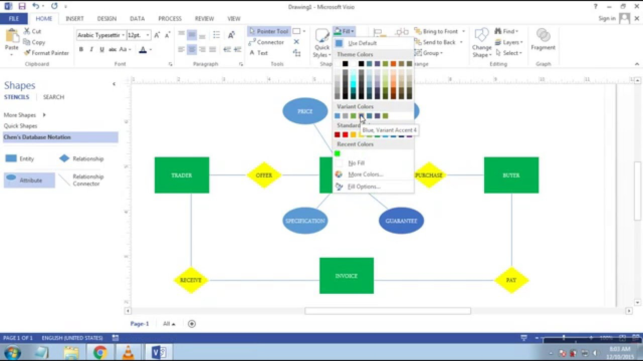 Cara Membuat Erd (Entity Relationship Diagram) Di Microsoft Visio 2013 in Er Diagram Visio 2016