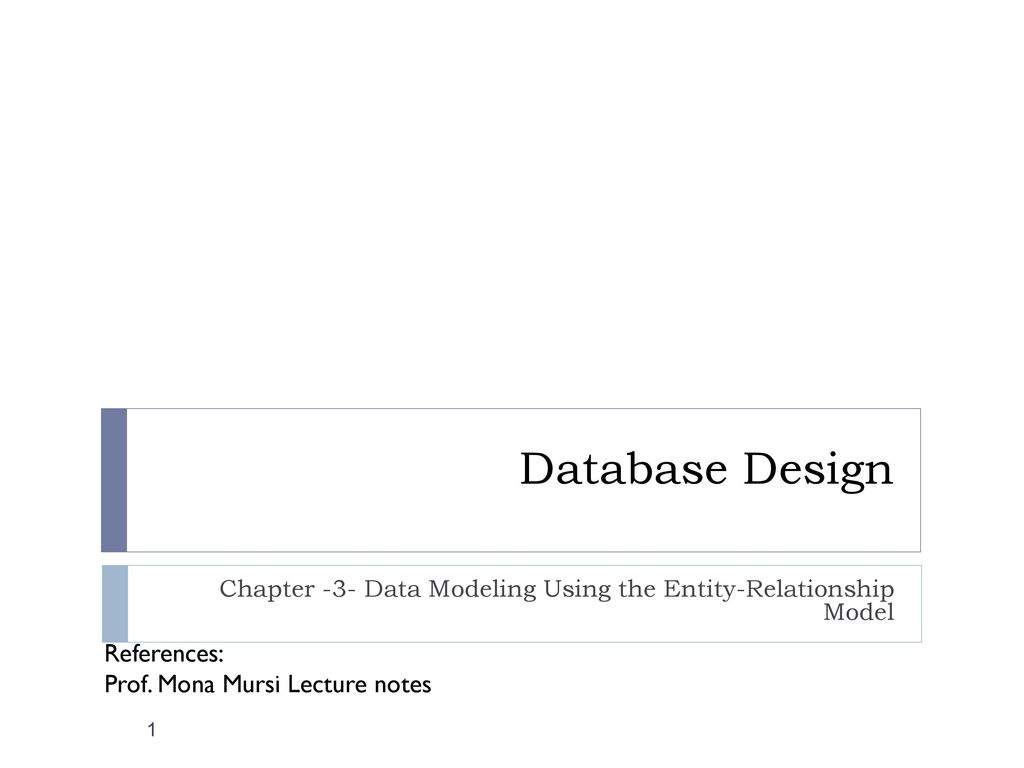 Chapter -3- Data Modeling Using The Entity-Relationship with Er Diagram Lecture Notes