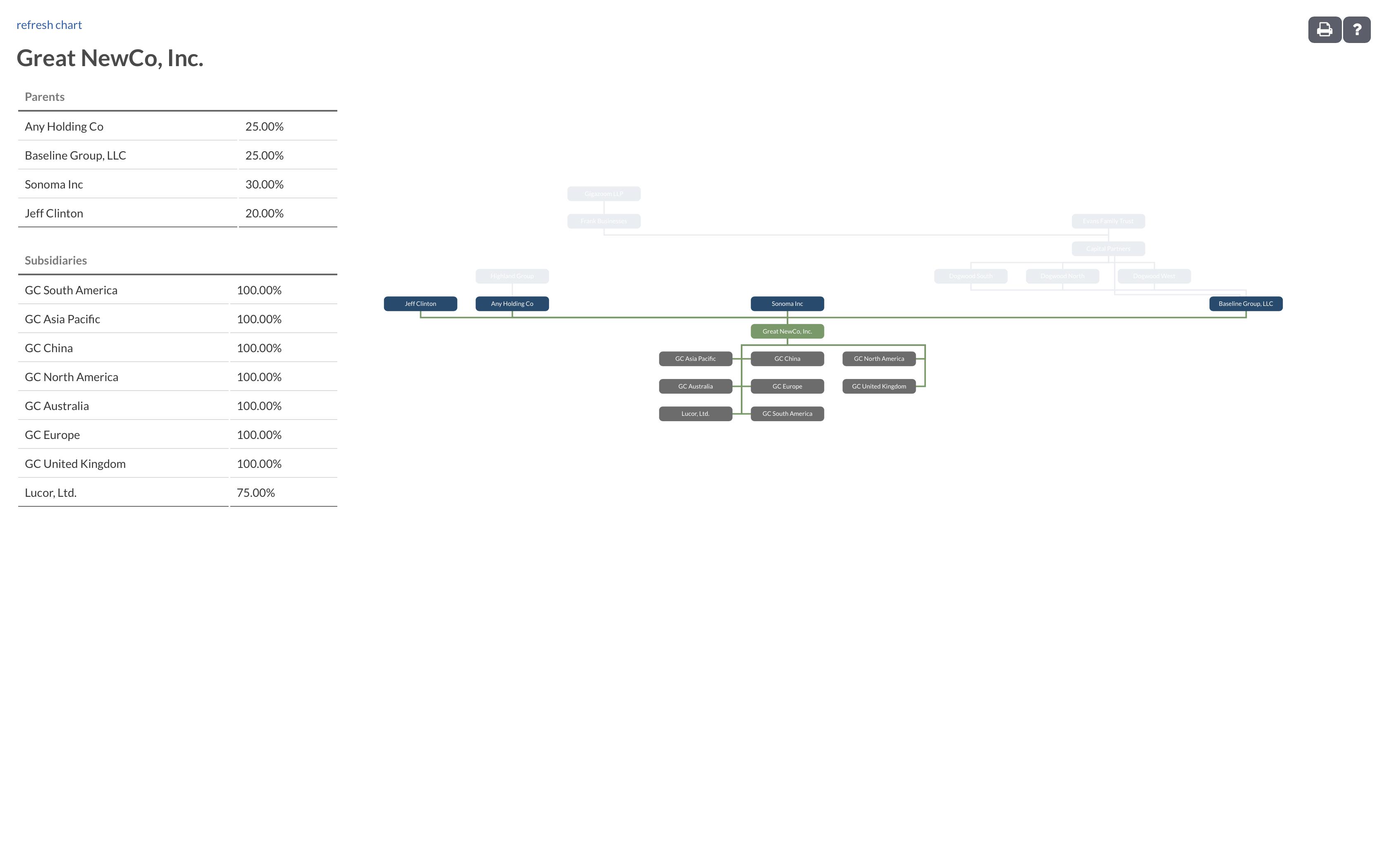Company Org Charts | Entity Management inside Entity Chart