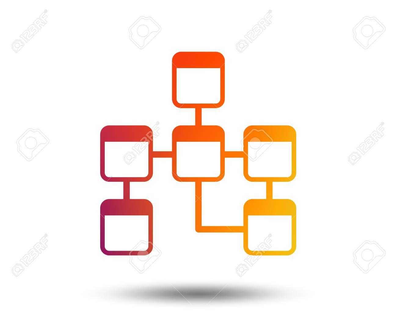 Database Sign Icon On Relational Database Schema Symbol. Blurred.. for Relational Database Symbols
