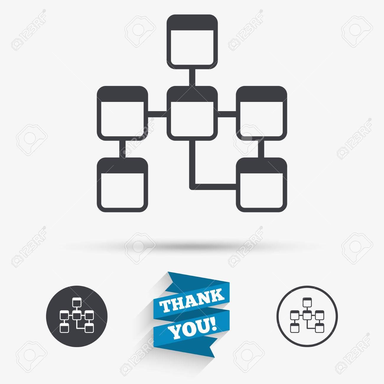 Database Sign Icon. Relational Database Schema Symbol. Flat Icons in Relational Database Symbols
