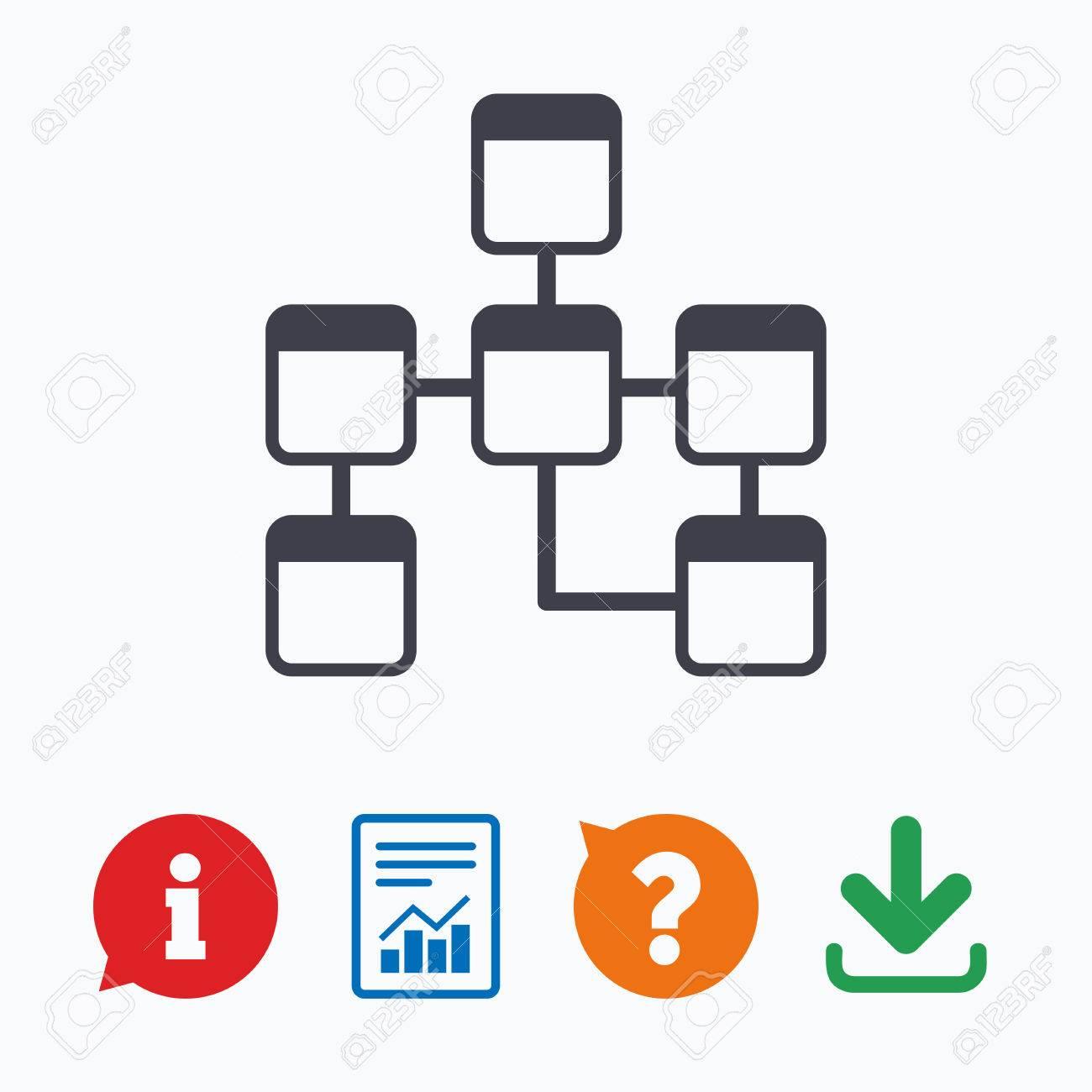 Database Sign Icon. Relational Database Schema Symbol. Information.. with Relational Database Symbols