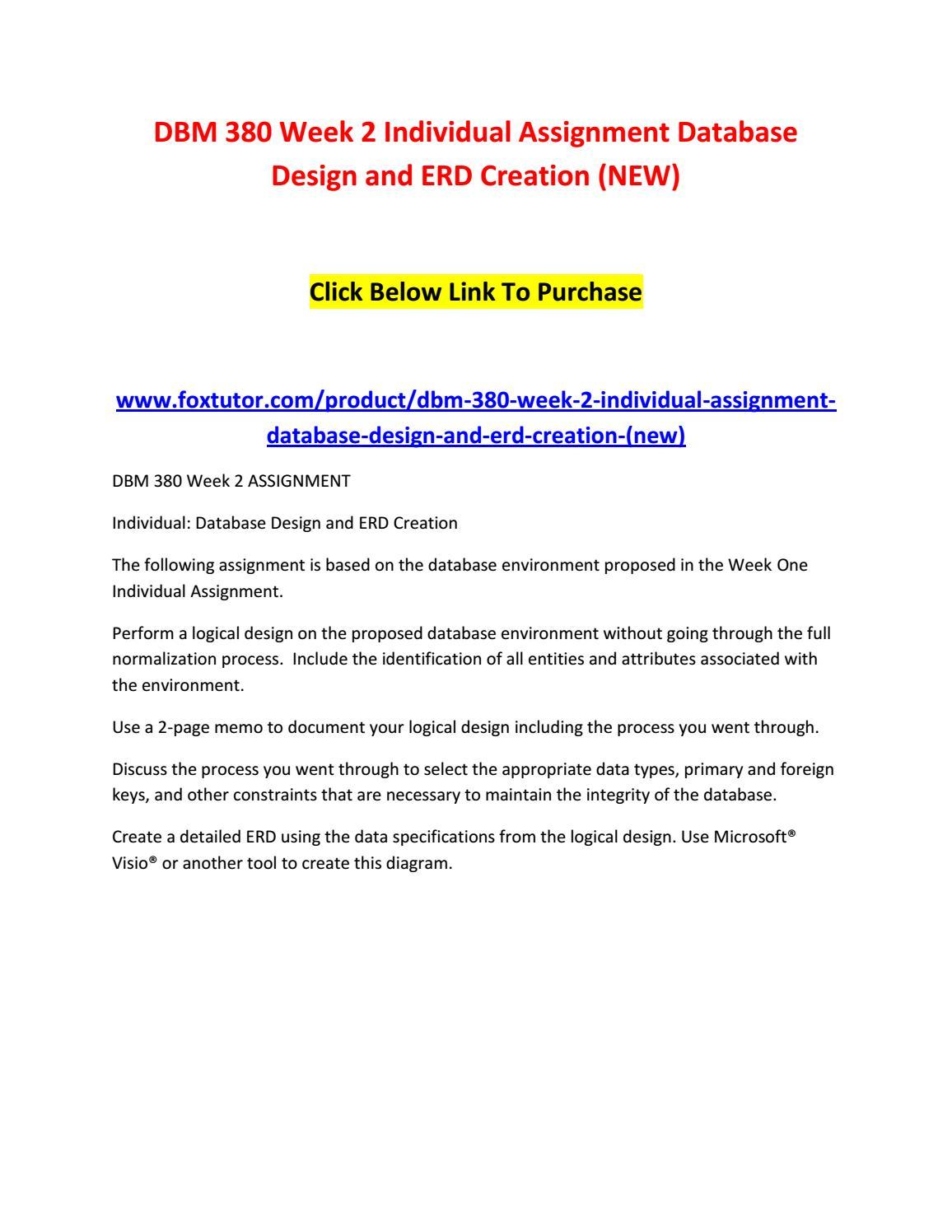 Dbm 380 Week 2 Individual Assignment Database Design And Erd for Database Design And Erd Creation