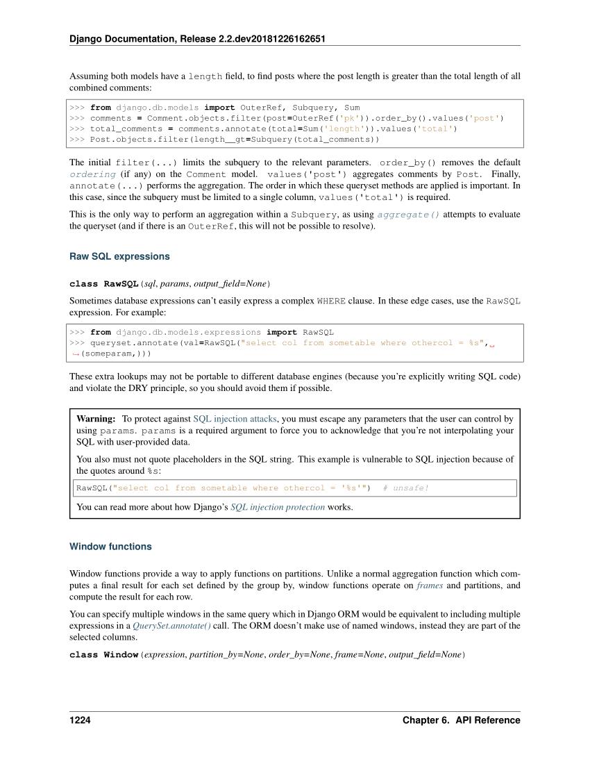 Django Documentation Release V 2.2 with Db Models