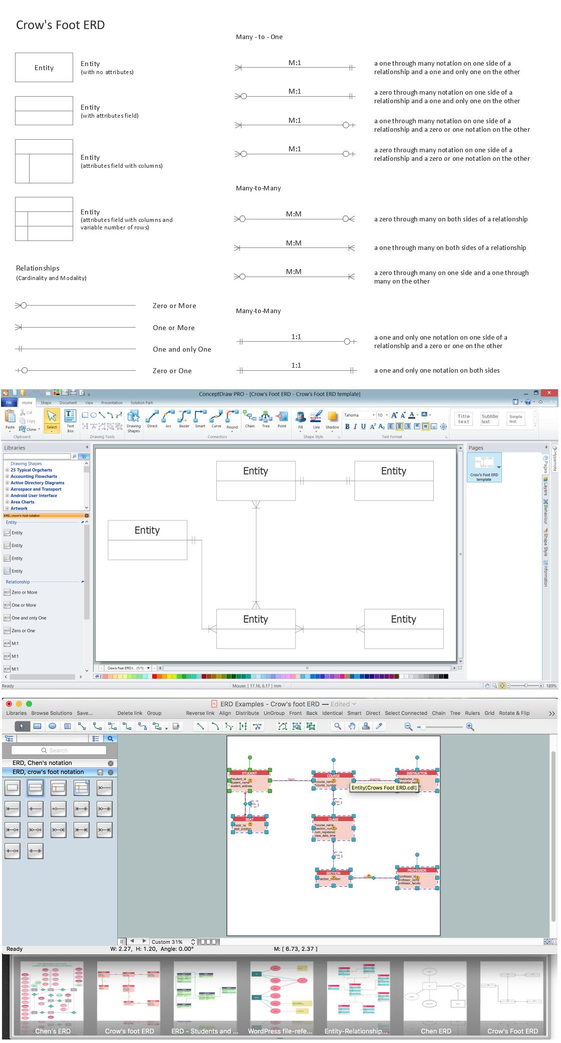 Entity Relationship Diagram - Erd - Software For Design for Er Diagram Crows Foot