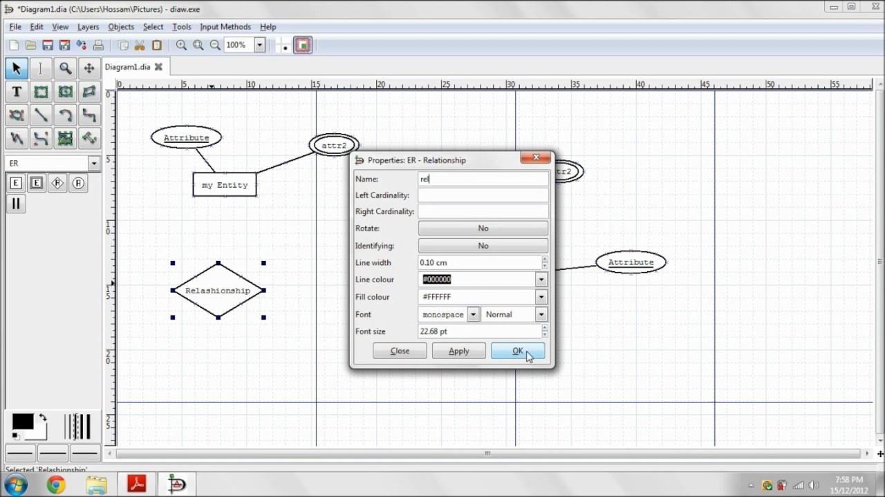 Entity-Relationship Diagram Using Dia with regard to Er Diagram Nedir