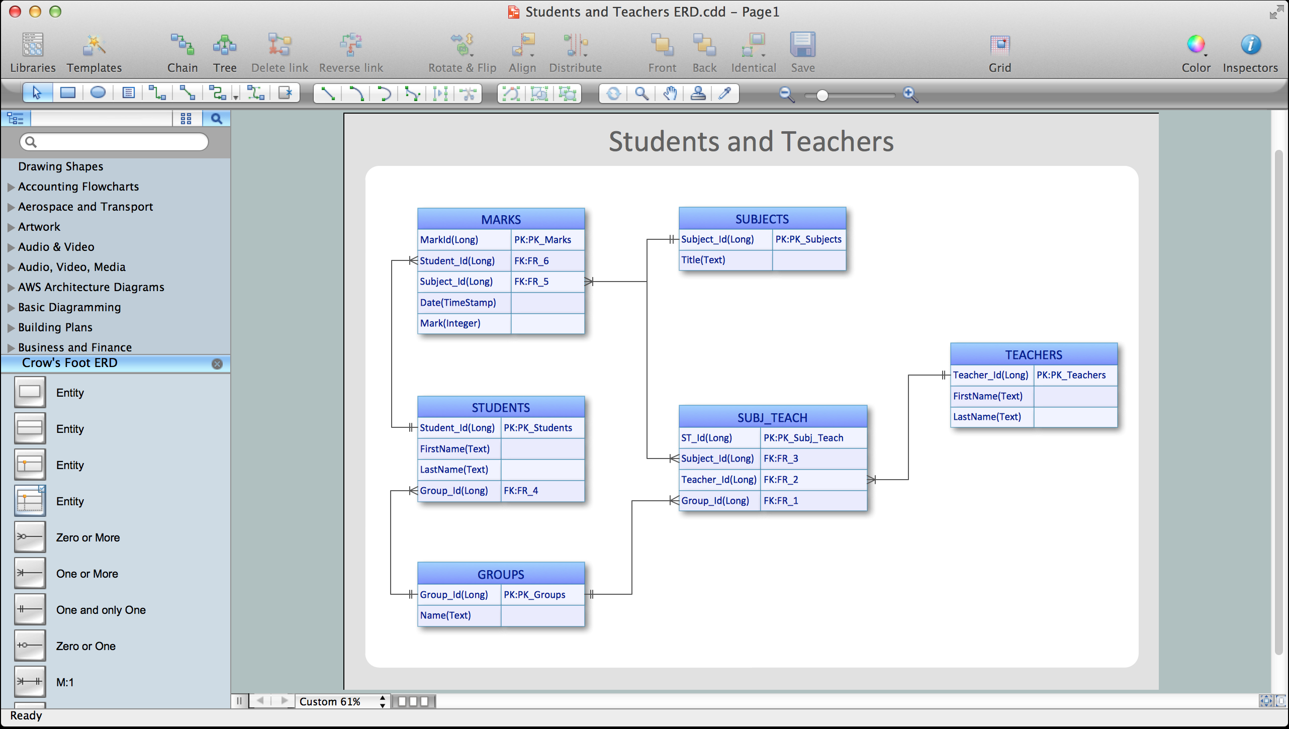 Entity Relationship Software | Professional Erd Drawing in Er Diagram With 6 Entities