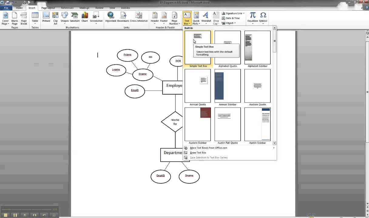 Er Diagram In Ms Word Part 8 - Illustrating Cardinality regarding How To Draw Er Diagram In Word