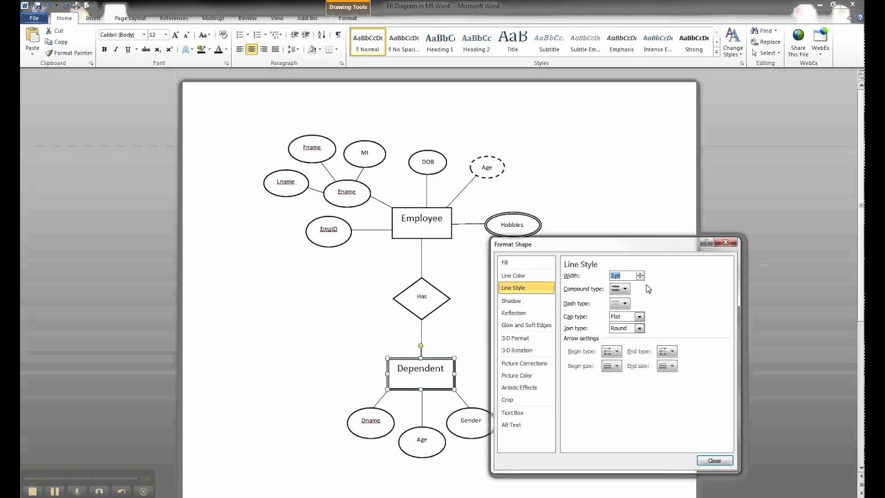 Er Diagram In Ms Word Part 9 - Illustrating A Weak Entity pertaining to How To Draw Er Diagram In Word