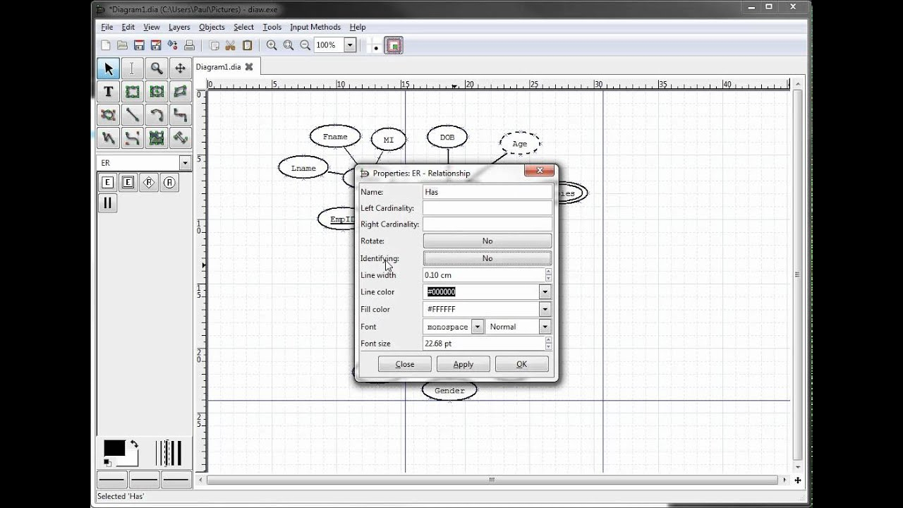 Er Diagrams In Dia Part 10 - Illustrating Weak Entities with Er Diagram In Word 2010