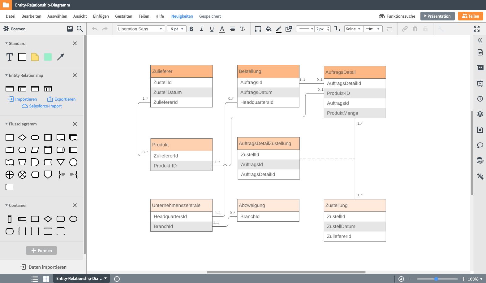 Er-Modell Tool: Erd Online Erstellen | Lucidchart throughout Er Diagramm 1 Zu N