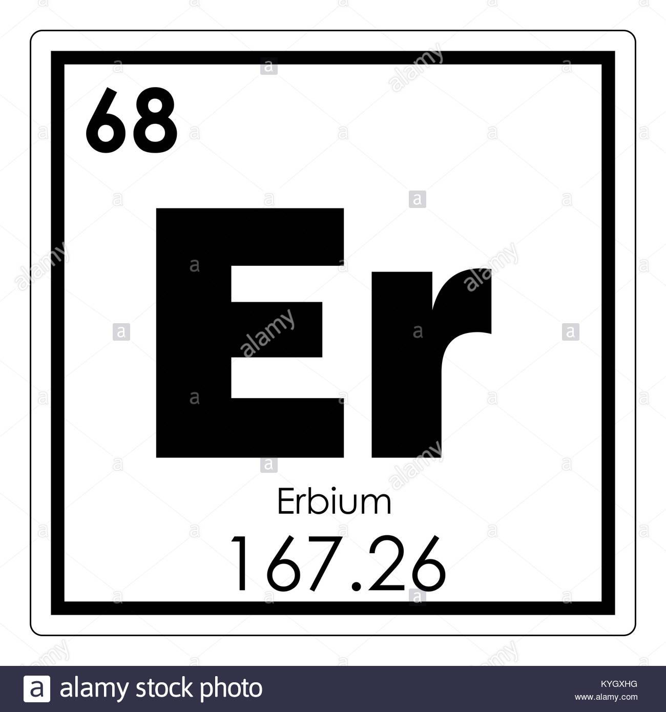 Erbium Chemical Element Periodic Table Science Symbol Stock for Er Symbol
