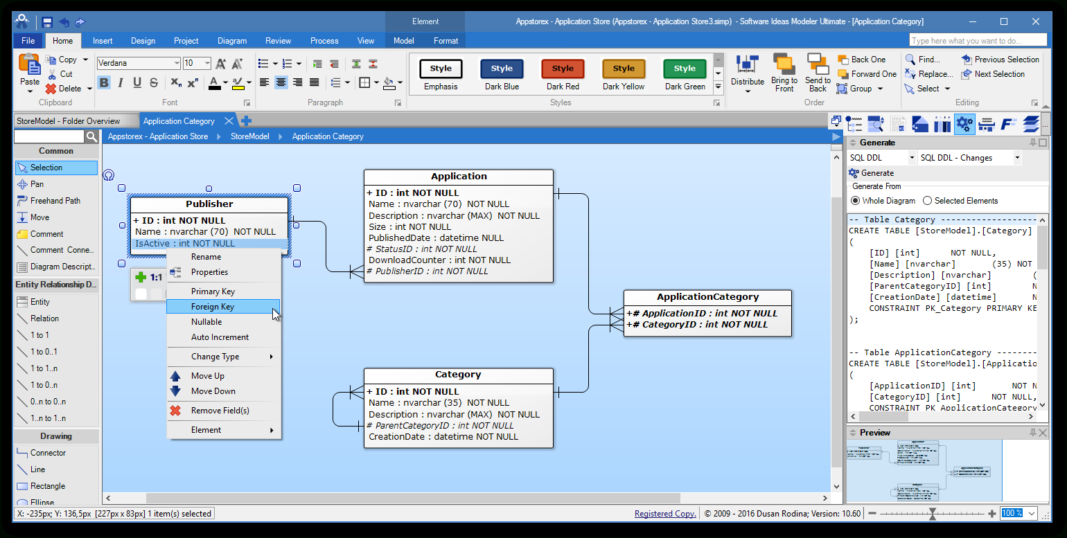 Erd Tool - Entity Relationship Software - Software Ideas Modeler intended for Erd Diagram Online Free