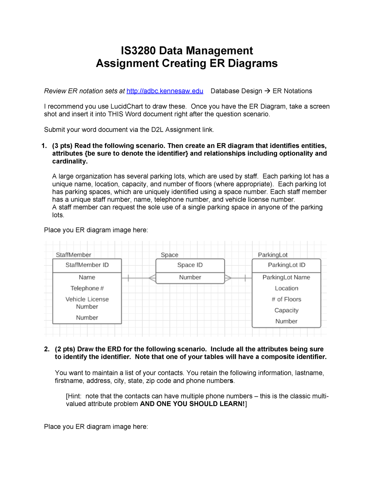 Erdassignment - Assignment For Module 2 - Is 3280 - Studocu in Er Diagram Unique Attribute