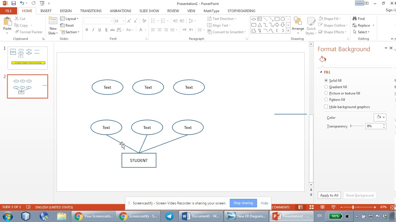 How To Draw Er Diagrams Using Microsoft Powerpoint - Part 1 regarding Er Diagram In Word 2010