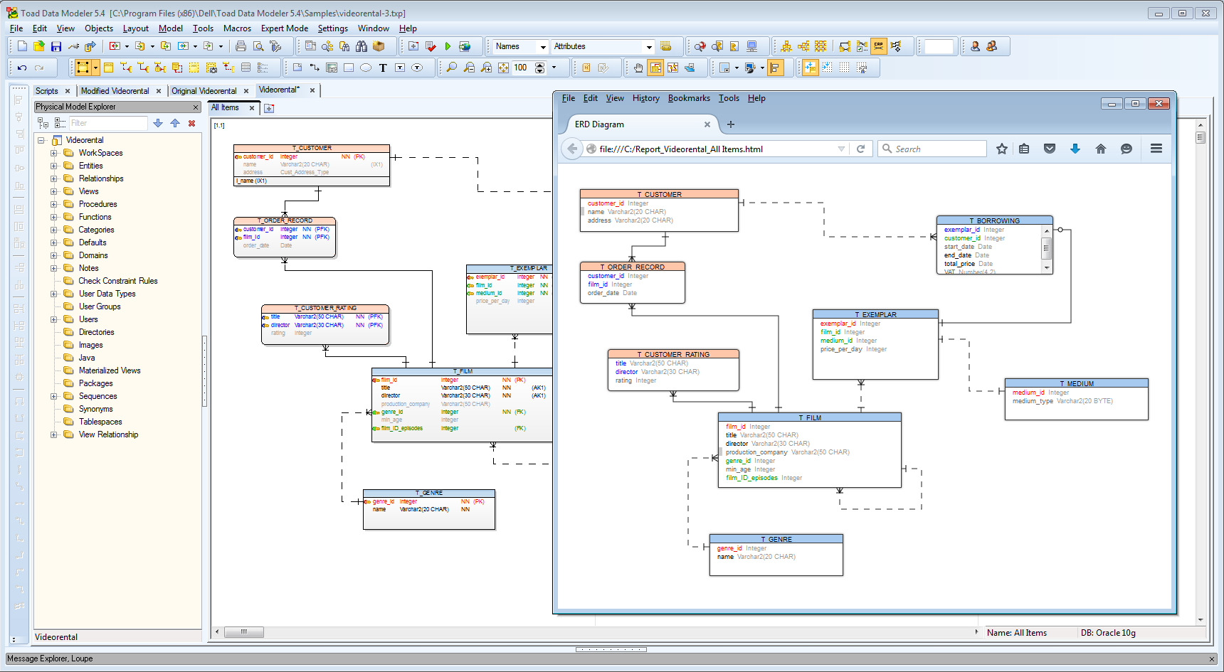 How To Generate Er Diagram To Web Page in Er Diagram Toad