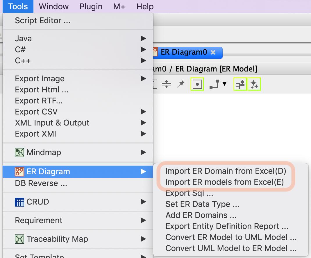 Import Er Models From Excel | Astah inside Er Diagram Excel