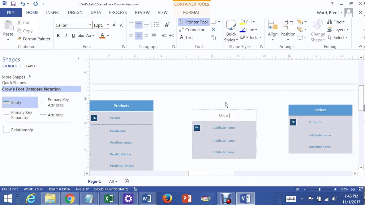 Lab 2 Many To Many Relationship In Visio 2013 Joining Orders And Products  Tables with Er Diagram Using Visio 2013