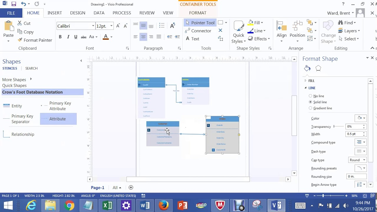 One To Many Relationships In Visio 2013 Lab 1A Bis 245 within Er Diagram Visio 2016