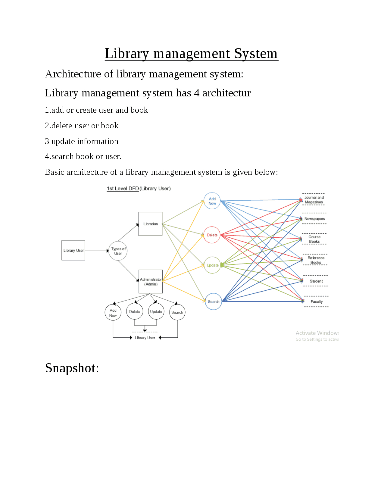 Online Library Management Architecture And E-R Diagram - Docsity with Er Diagram Library Management System