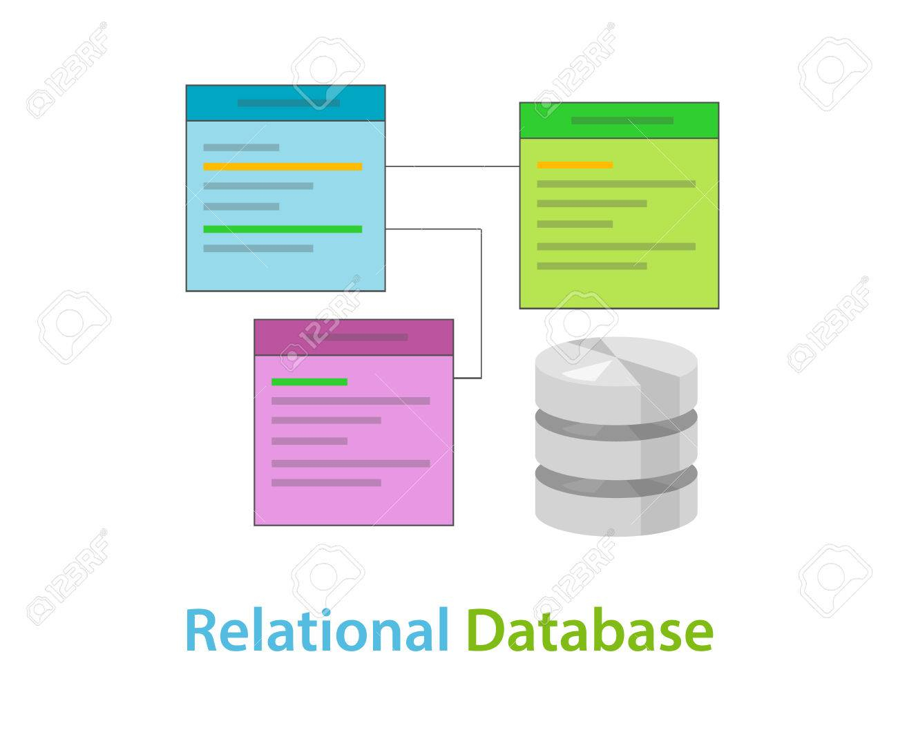 Relational Database Data Table Related Symbol Vector Illustration.. with regard to Relational Database Symbols