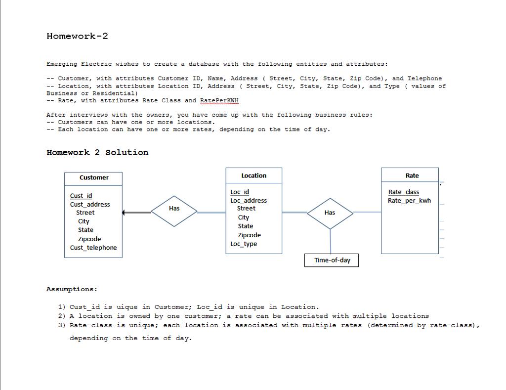Solved: Consider The Scenario From Homework 2 Where You De regarding Er Diagram Unique