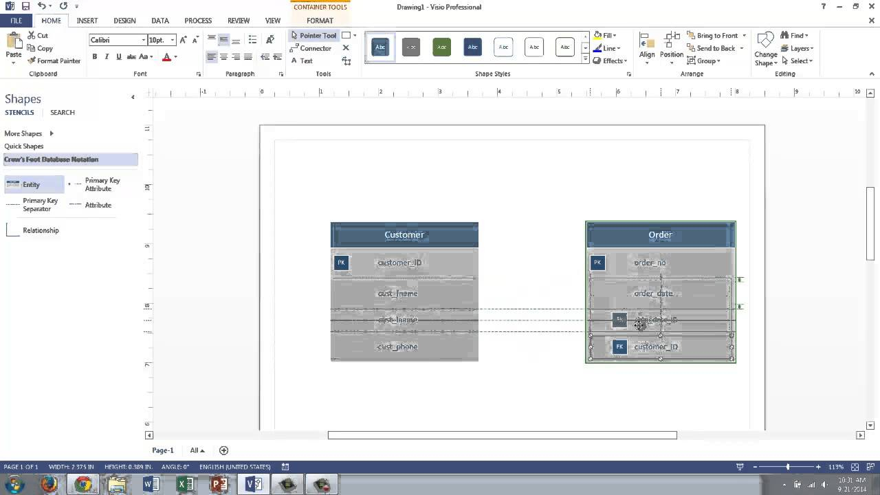 Visio 2013 Conceptual Data Modeling inside Er Diagram Using Visio 2013