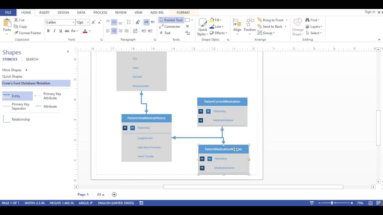 Visio 2013 - Database Diagram (Crows Foot Notation) for Er Diagram Visual Studio 2013