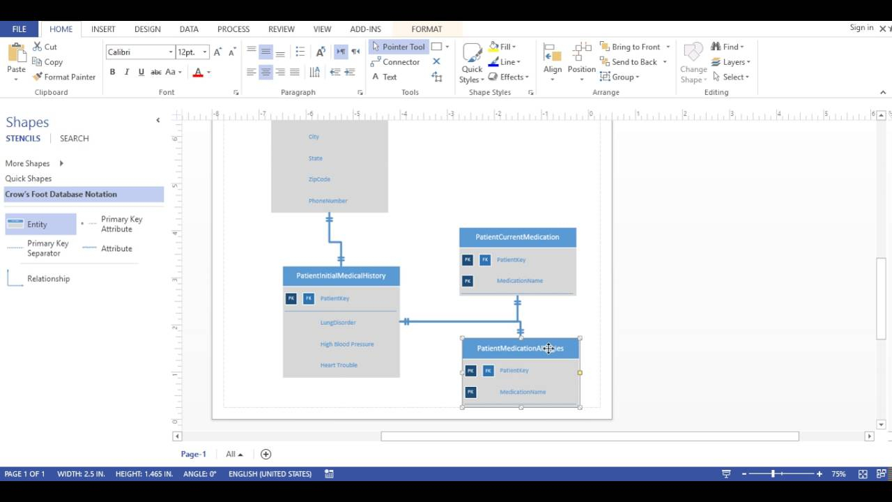 Visio 2013 - Database Diagram (Crows Foot Notation) regarding Er Diagram Using Visio
