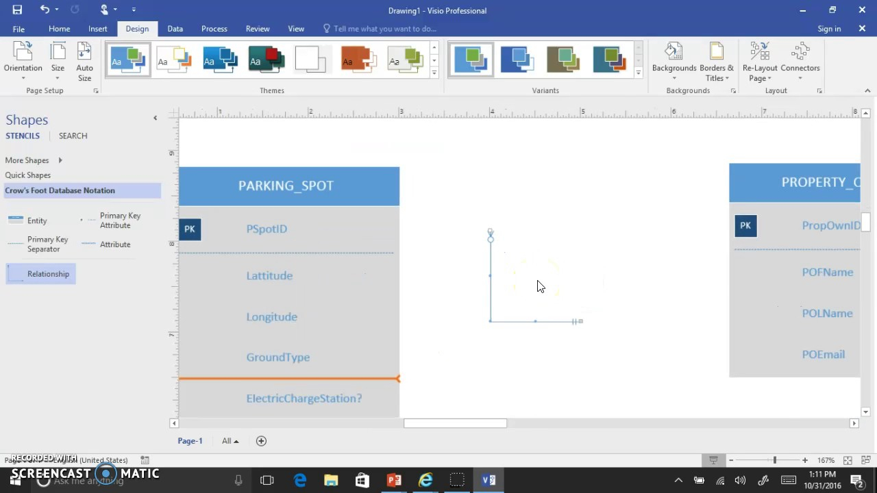 Visio 2016 Crows Foot Erd Interface Demo V2 intended for Er Diagram Using Visio 2016