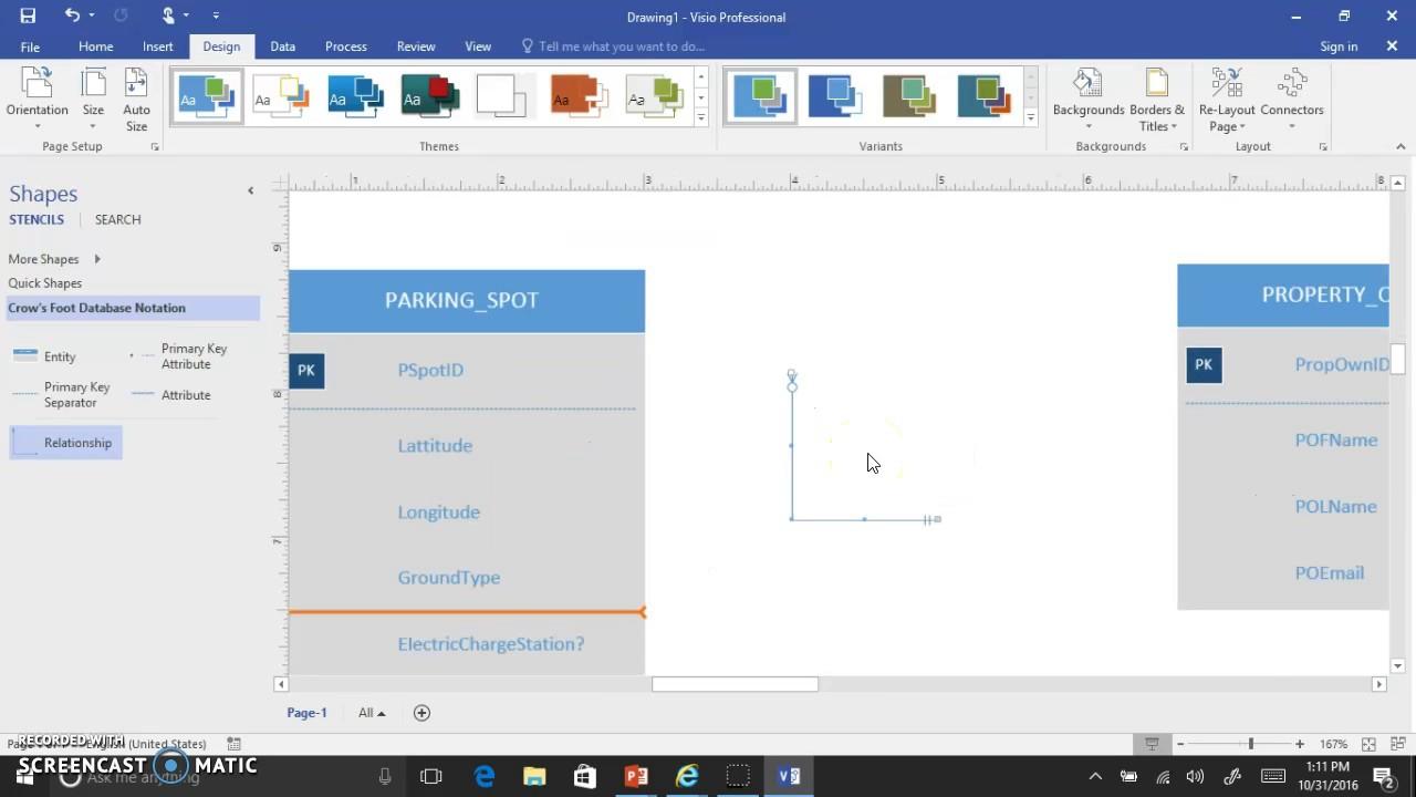 Visio 2016 Crows Foot Erd Interface Demo V2 regarding Er Diagram Visio