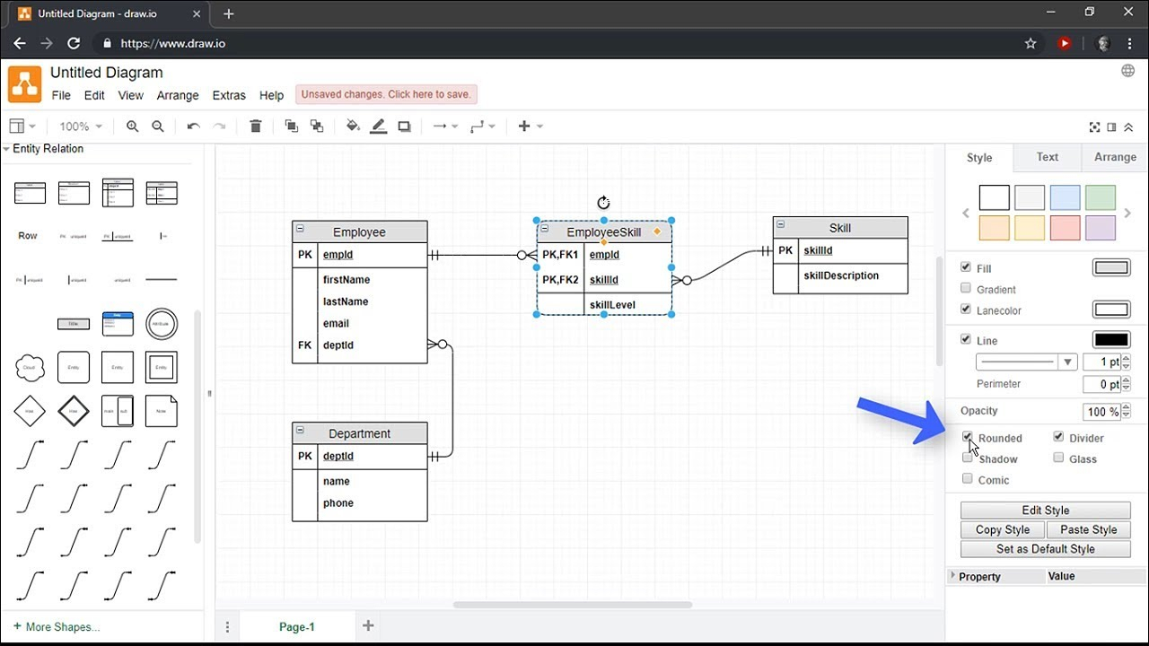 Creating Entity Relationship Diagrams Using Draw.io with regard to Sql Er Diagram Example
