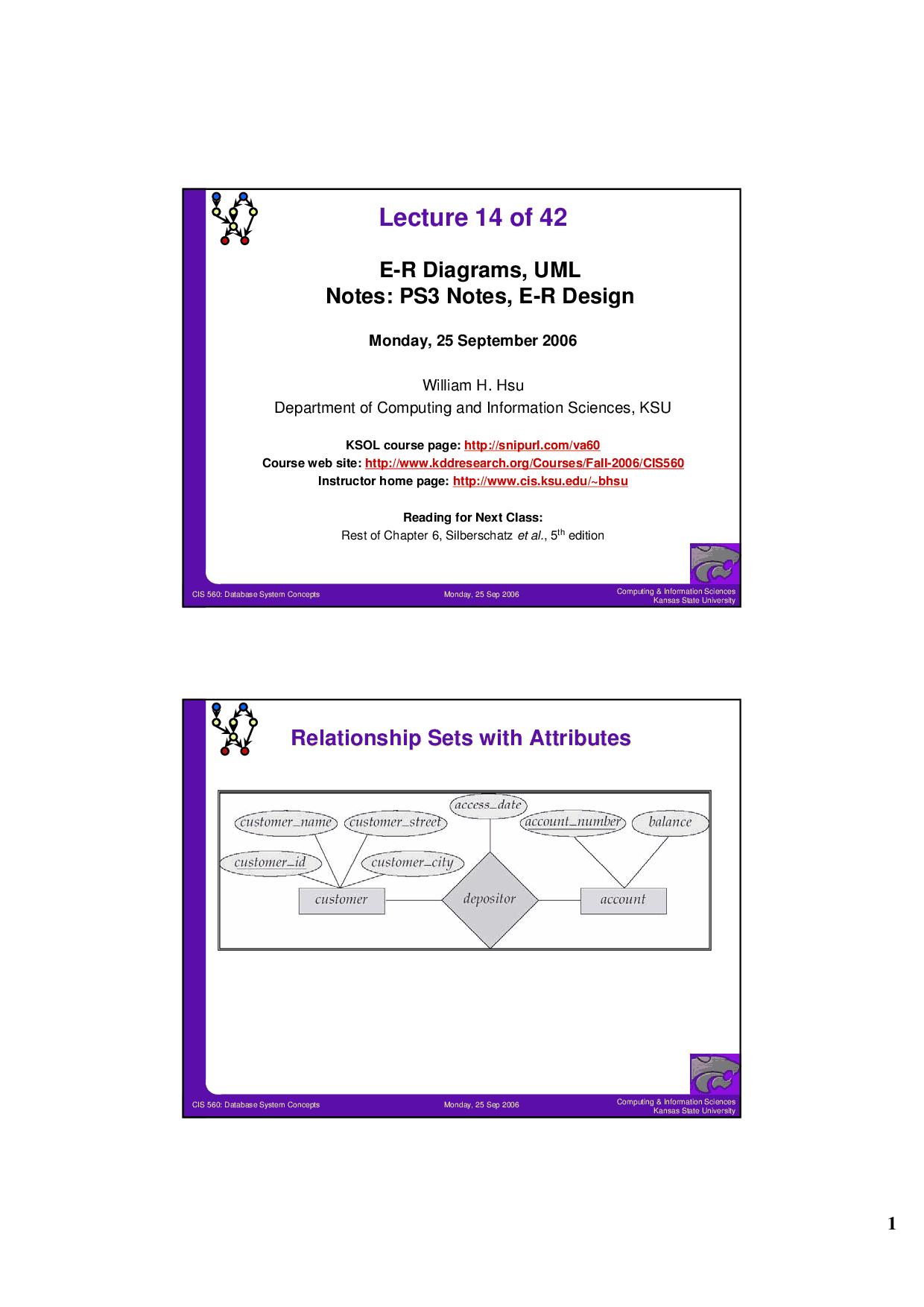 E-R Diagrams-Database System Concepts-Lecture 14 Slides regarding Er Diagram Lecture