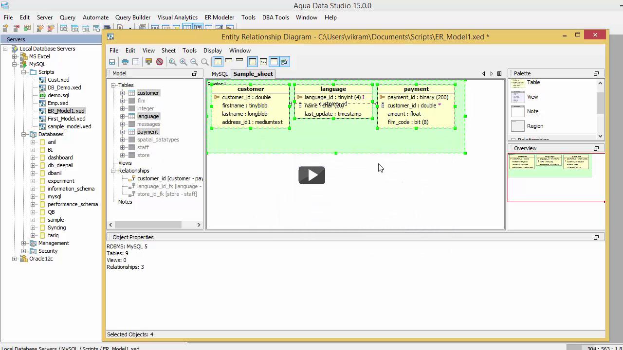Entity Relationship Modeler Basic Demo For Aqua Data Studio throughout Er Modeler