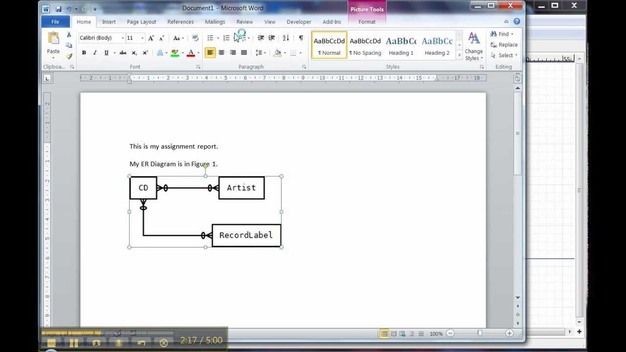 Er Diagram In Dia 3 Of 3: Using The Diagram In Word in Er Diagram Microsoft Word