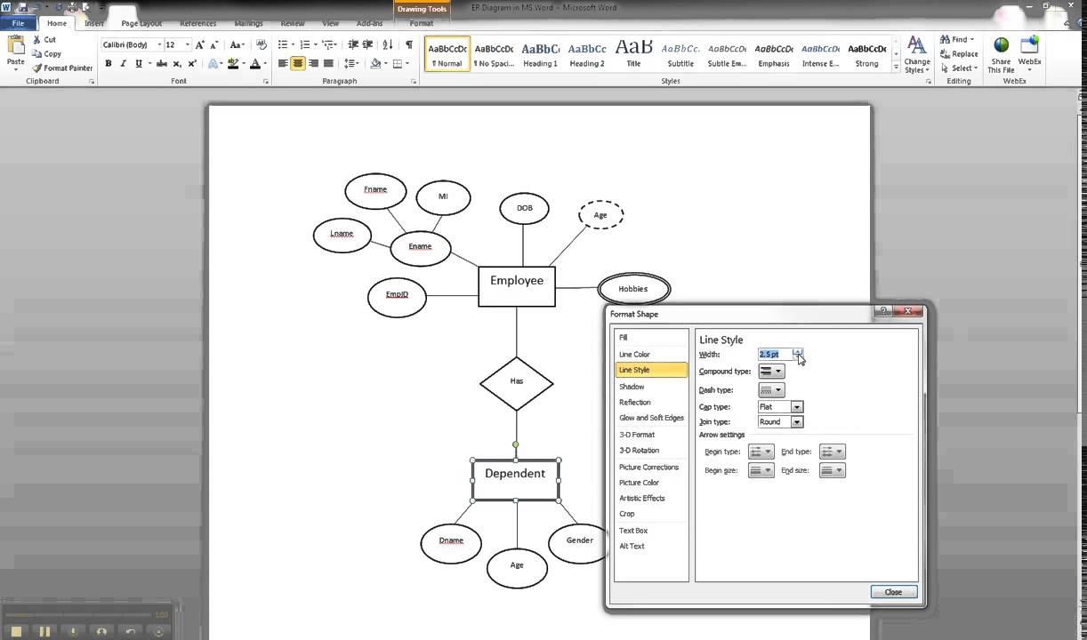 Er Diagram In Ms Word Part 9 - Illustrating A Weak Entity throughout Er Diagram Arrows