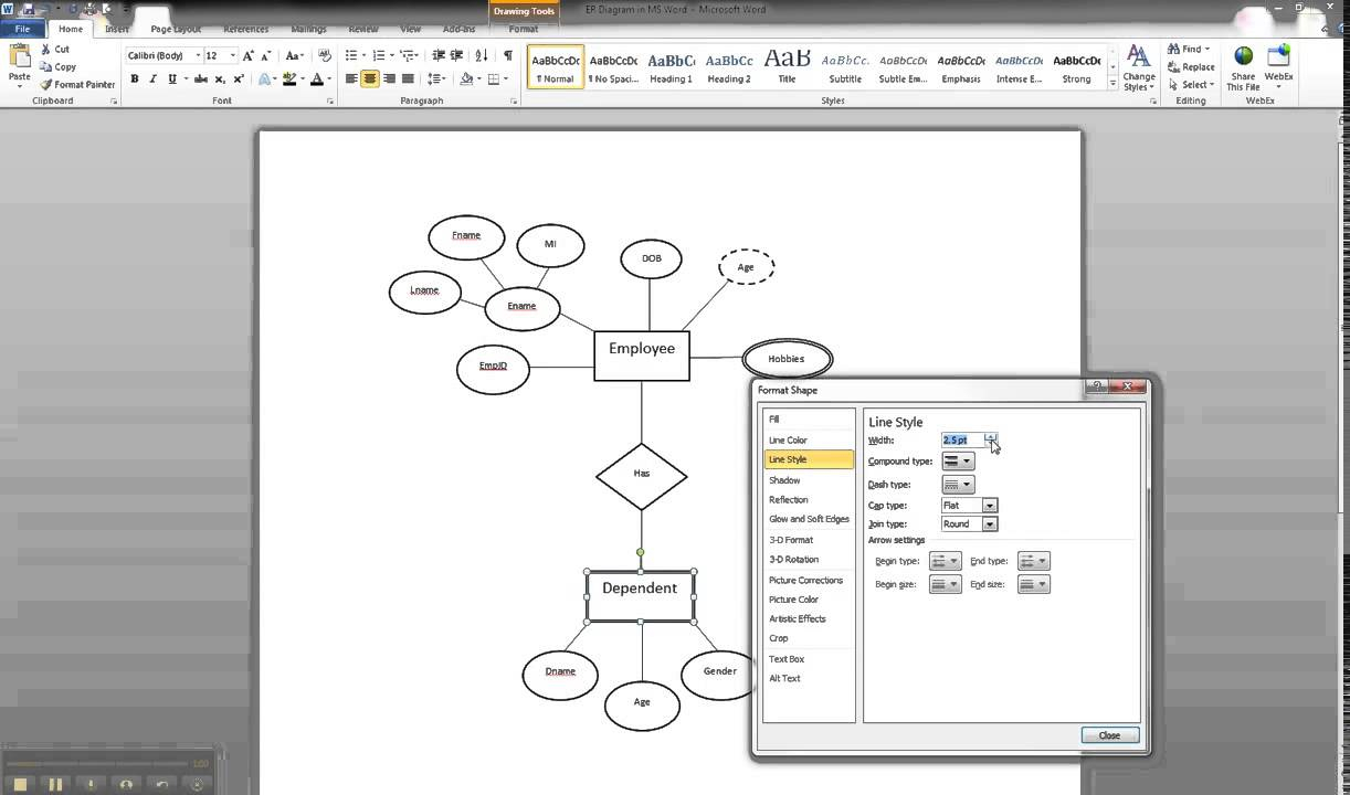 Er Diagram In Ms Word Part 9 - Illustrating A Weak Entity within Er Diagram Microsoft Word