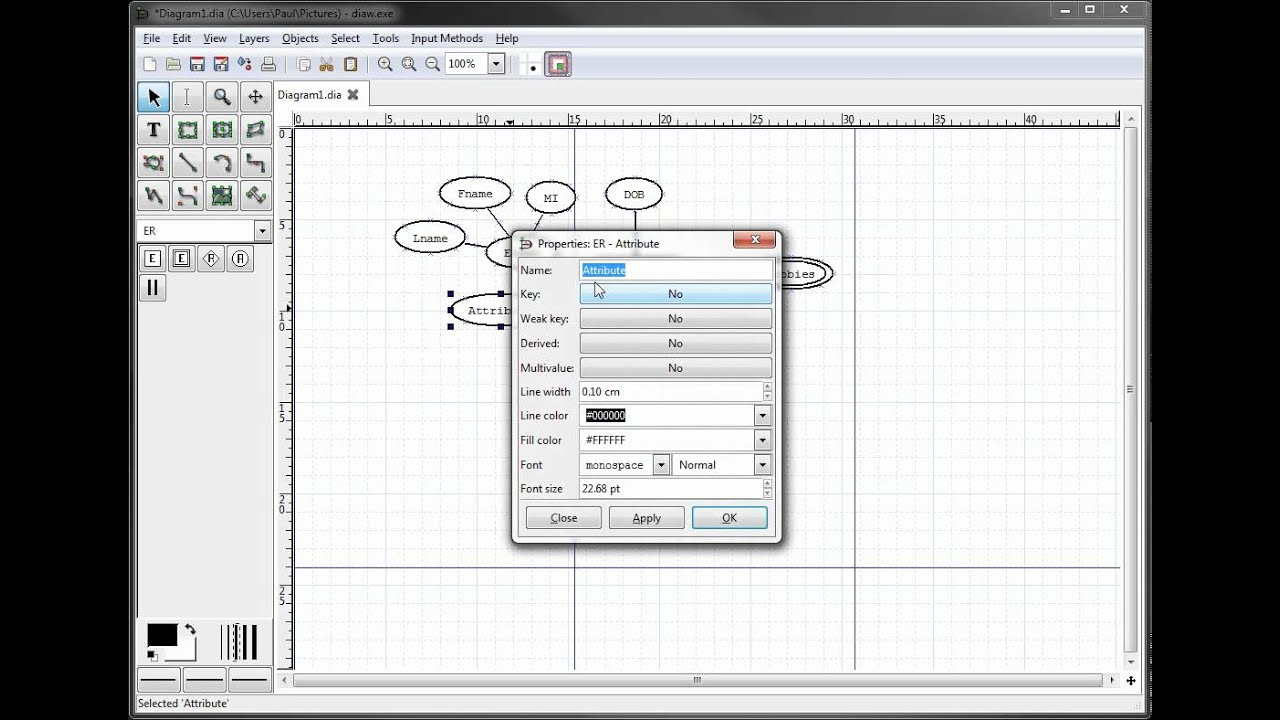 Er Diagrams In Dia Part 6 - Creating A Primary Key Attribute with regard to Er Diagram Using Dia