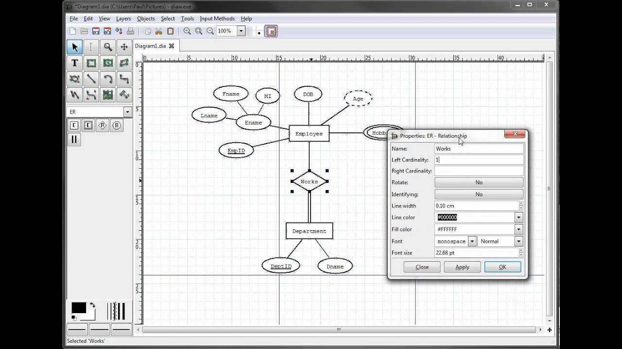 Er Diagrams In Dia Part 9 - Illustrating Cardinality within Cardinality In Er Diagram