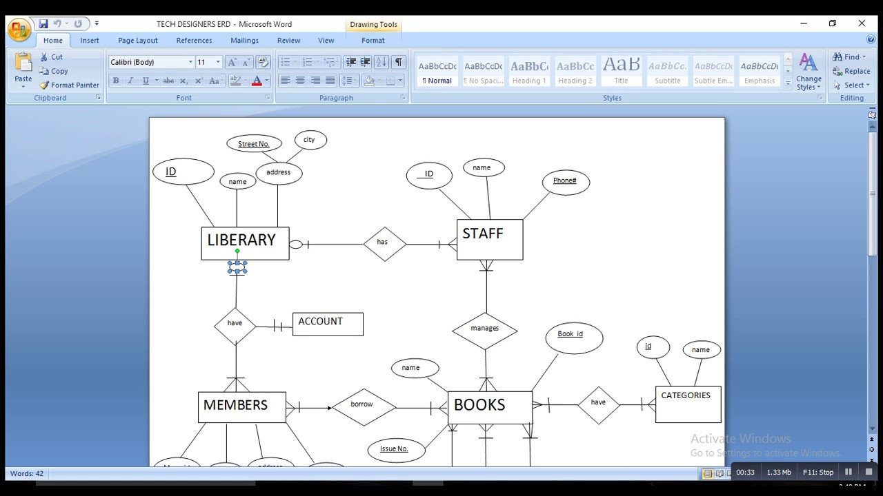 Erd Of Library Management System. for How To Make Erd Diagram In Word