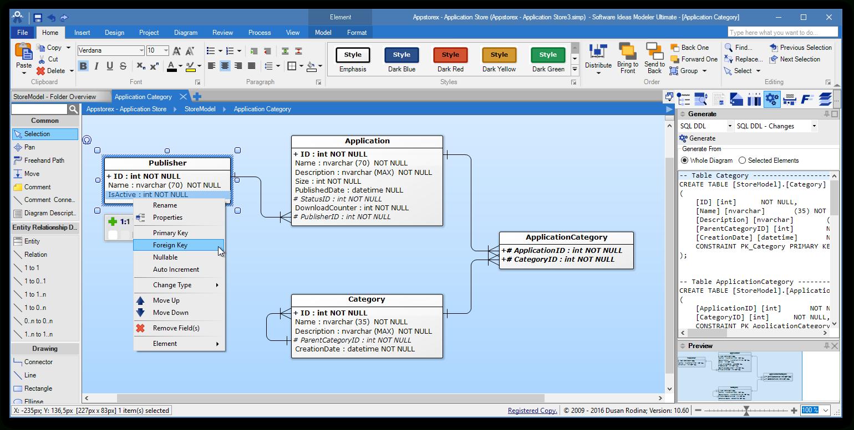Erd Tool - Entity Relationship Software - Software Ideas Modeler regarding Er Modeler