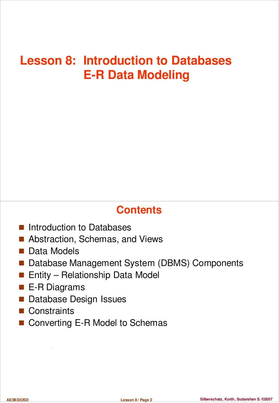 Lesson 8: Introduction To Databases E-R Data Modeling - Pdf for Er Diagram Korth