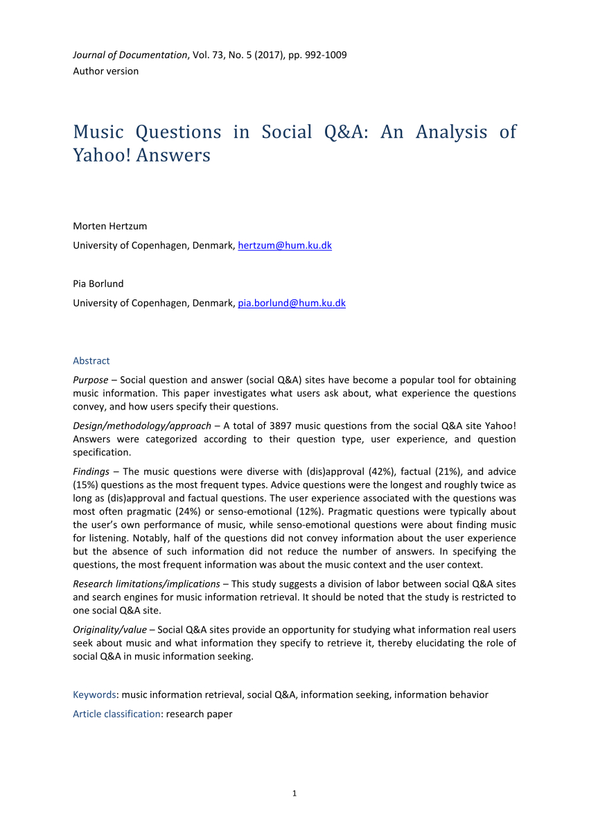 Pdf) Music Questions In Social Q&a: An Analysis Of Yahoo pertaining to Er Diagram Yahoo Answers