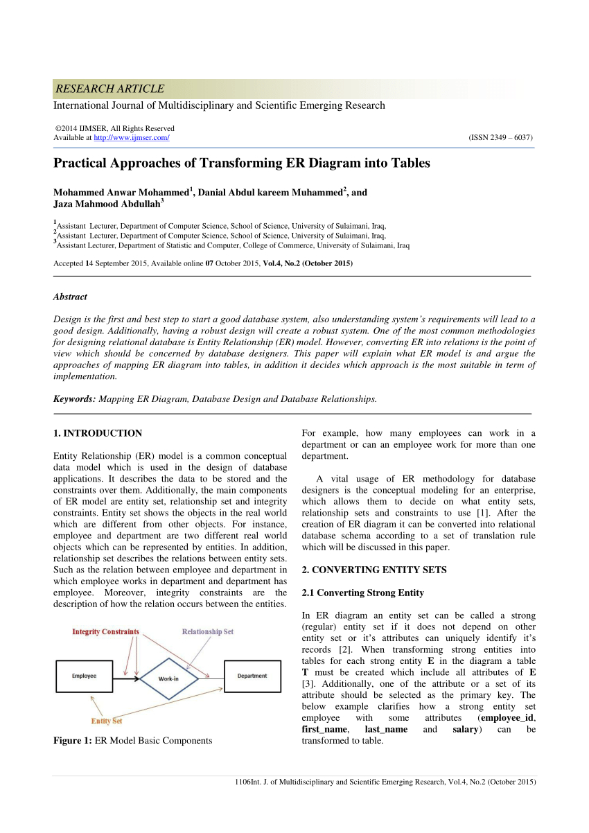 Pdf) Practical Approaches Of Transforming Er Diagram Into Tables with regard to Er Diagram Convert To Relational Schema