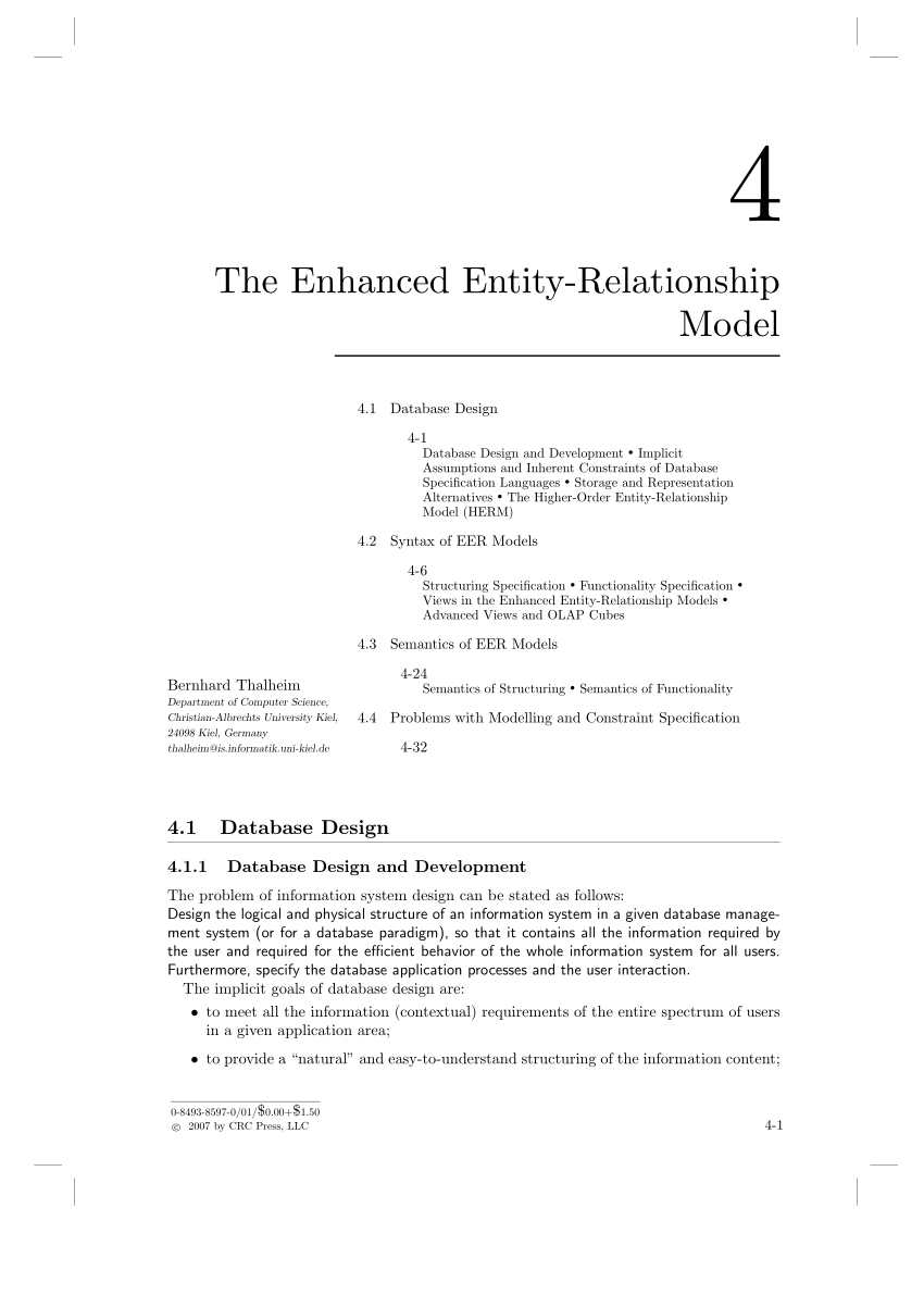Pdf) The Enhanced Entity-Relationship Model within Er Diagram Assumptions